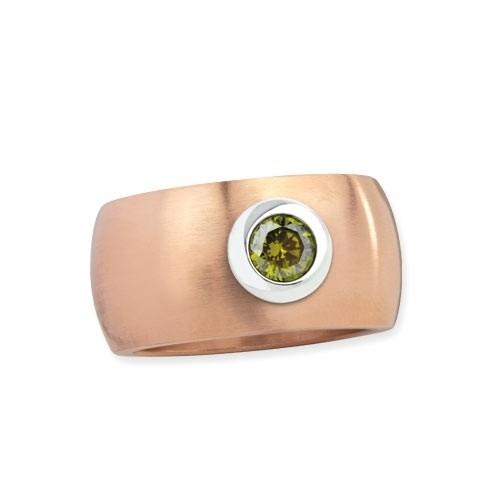"LuxXL Edelstahlring 12 mm ""Blink"" rotgold matt mit grünem Zirkonia"