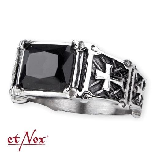 etNox - Ring Edelstahl mit schwarzem Zirkonia