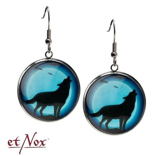 """etNox - Ohrringe """"Heulender Wolf"""" aus Glas mit Zinklegierung"""