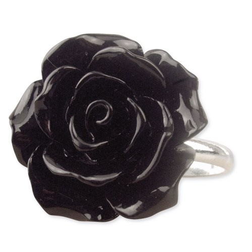 "etNox - Ring ""Black Rose"" Polyresin + 925 Silber"