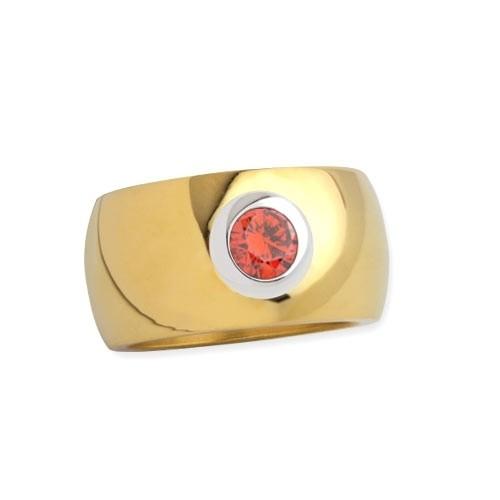 """LuxXL Edelstahlring 12 mm """"Blink"""" poliert mit Beschichtung und orangem Zirkonia"""