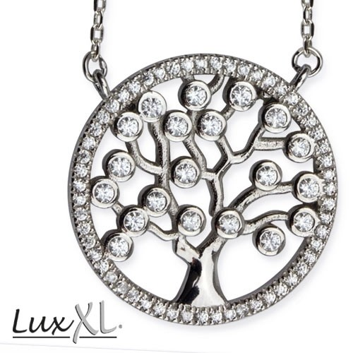 "LuxXL Silberkette ""Tree of Life"" mit Zirkonia"