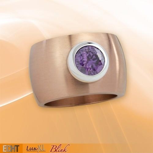 """LuxXL Edelstahlring 15 mm """"Blink"""" rotgold matt mit violettem Zirkonia"""