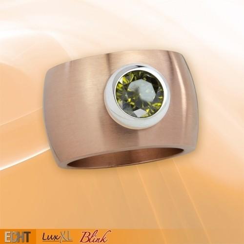 "LuxXL Edelstahlring 15 mm ""Blink"" rotgold matt mit grünem Zirkonia"