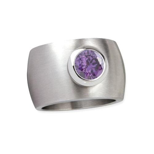 "LuxXL Edelstahlring 15 mm ""Blink"" matt mit violettem Zirkonia"