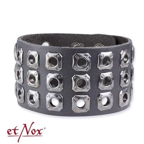 """etNox - Armband """"Flechtwerk + Nieten"""" Leder und Zink"""