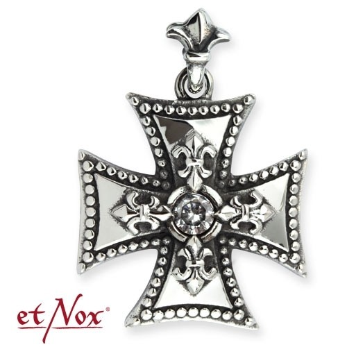 """etNox-Anhänger """"Iron Cross"""" Edelstahl mit weißem Zirkonia"""