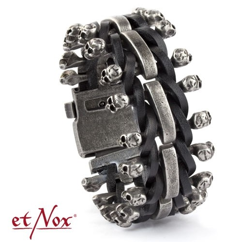 "etNox-Armband ""Skulls on Leather"", Edelstahl"