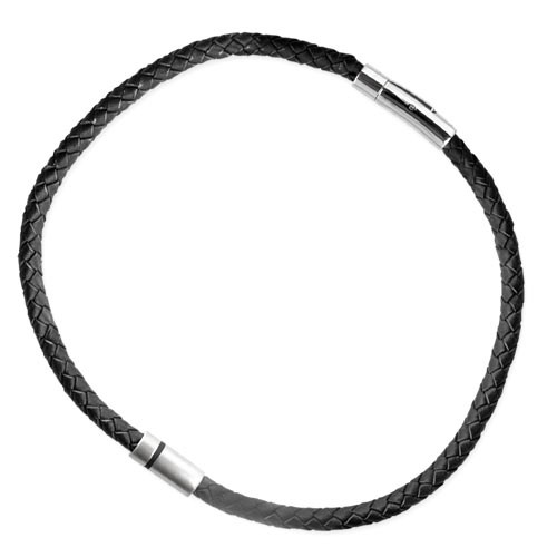 """LuxXL """"HIM"""" Edelstahlanhänger mit schw. Lederband 42 cm"""