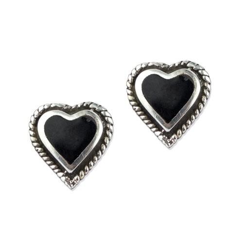 "LuxXL Silberohrrstecker ""Black Hearts"""