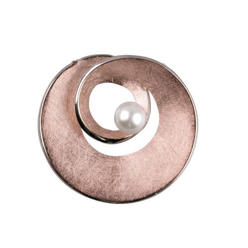 """LuxXL Anhänger """"Spirale"""" Silber rotgold beschichtet m. Perle"""