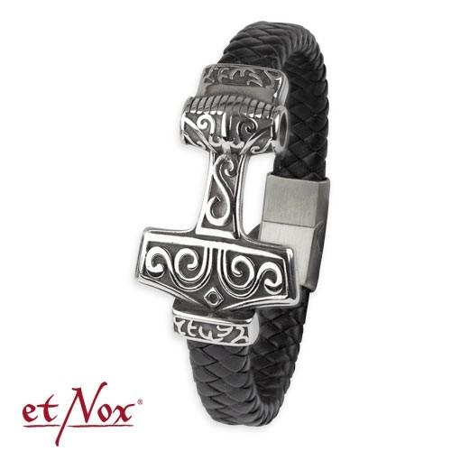 "etNox - Armband ""Thors Hammer"" Leder mit Edelstahl"