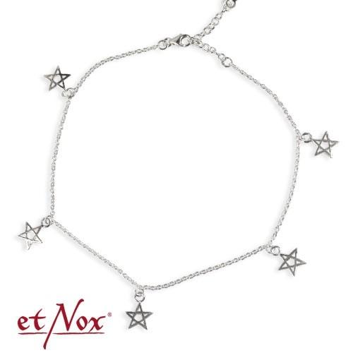 """etNox Silber-Fußkettchen """"Pentagramm"""""""