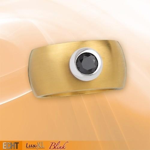 """LuxXL Edelstahlring 12 mm """"Blink"""" matt mit Beschichtung und schwarzem Zirkonia"""