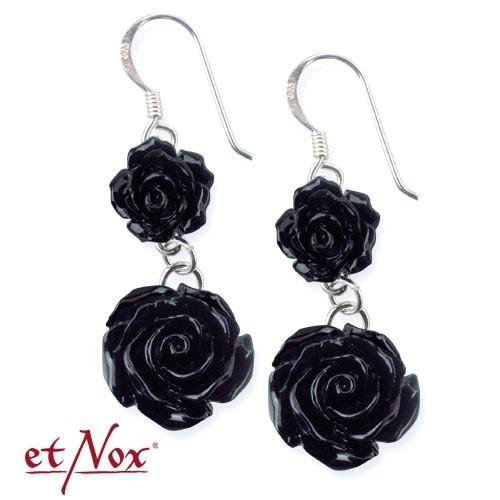 "etNox-Ohrringe ""Black Roses"" Polyresin + 925 Silber"