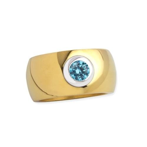 """LuxXL Edelstahlring 12 mm """"Blink"""" poliert mit Beschichtung und blauem Zirkonia"""