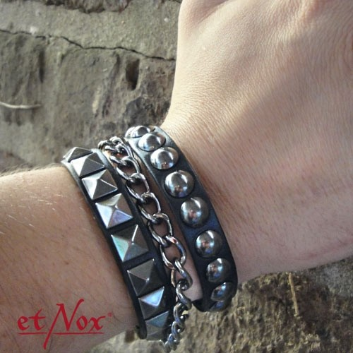 """etNox - Armband """"Three Metals"""" Leder und Zink"""