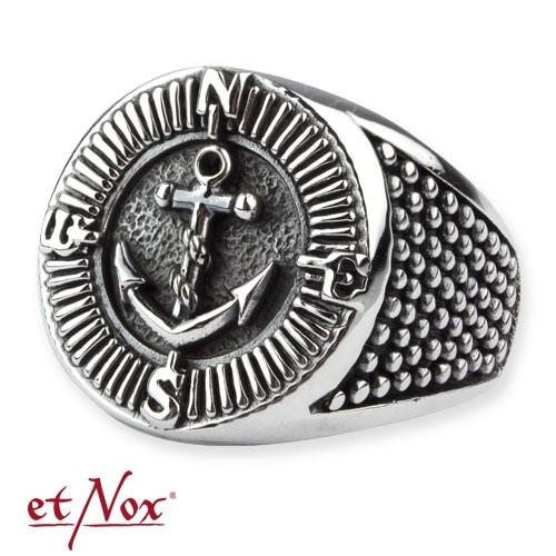 """etNox - Ring """"Kompass und Anker"""" 925 Silber"""