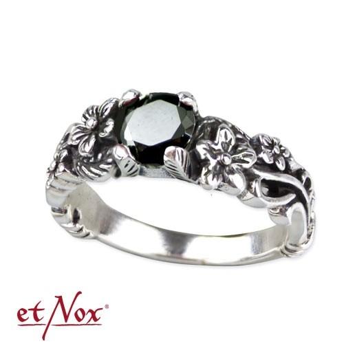 "etNox Silberring ""Black Flower"""