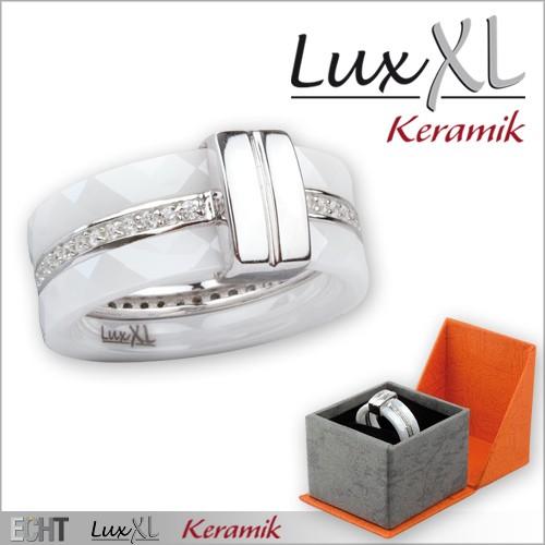 LuxXL-Keramikring weiß mit Silber und Zirkonia