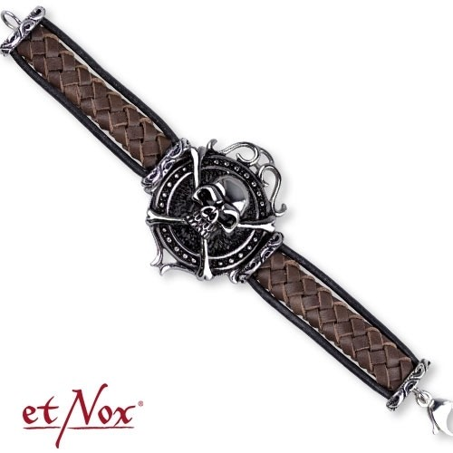 "etNox-Armband ""big skull on woven leather"" 22 cm, Edelstahl"