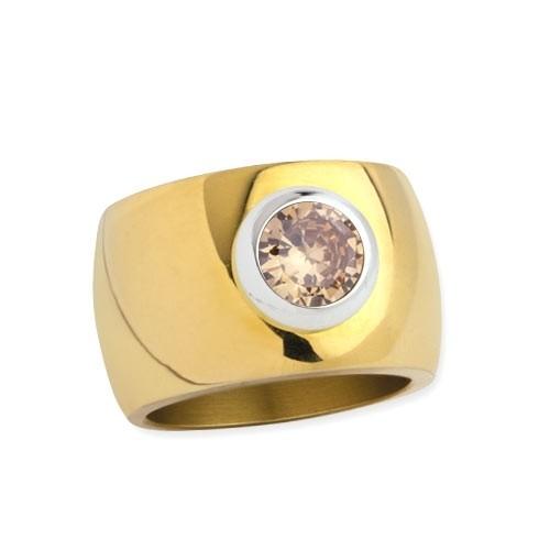 """LuxXL Edelstahlring 15 mm """"Blink"""" poliert mit Beschichtung und champagnem Zirkonia"""