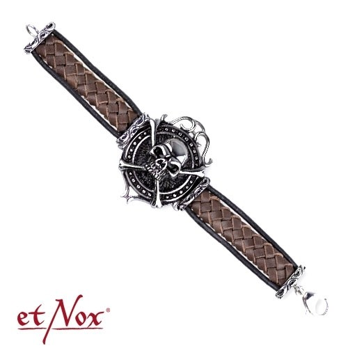 "etNox-Armband ""big skull on woven leather"" Edelstahl"