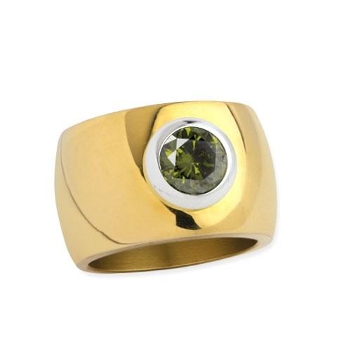 """LuxXL Edelstahlring 15 mm """"Blink"""" poliert mit Beschichtung und grünem Zirkonia"""