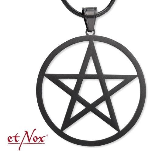 "etNox - Anhänger ""Plain Pentagram"", Edelstahl, schwarz"