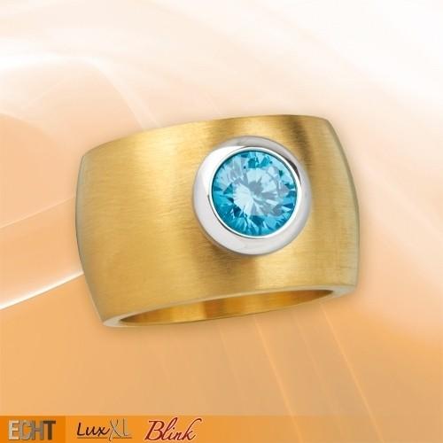 """LuxXL Edelstahlring 15 mm """"Blink"""" matt mit Beschichtung und blauem Zirkonia"""