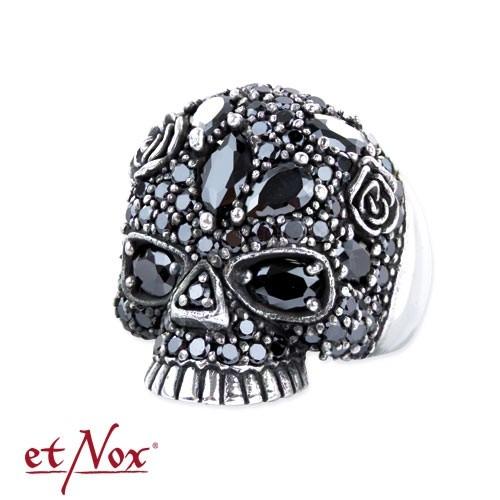 """etNox - Silberring """"Sparkling Skull"""" mit Zirkonia"""