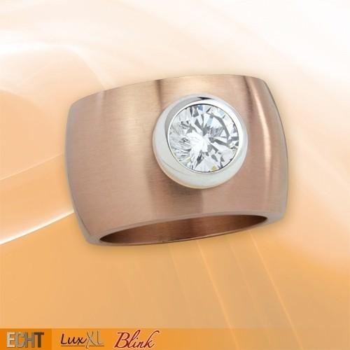 """LuxXL Edelstahlring 15 mm """"Blink"""" rotgold matt mit weißem Zirkonia"""