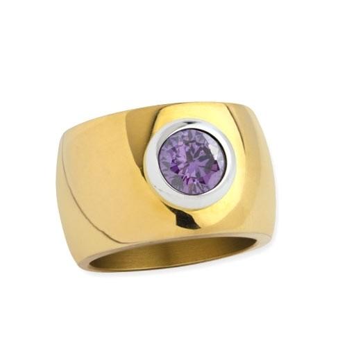 """LuxXL Edelstahlring 15 mm """"Blink"""" poliert mit Beschichtung und violettem Zirkonia"""