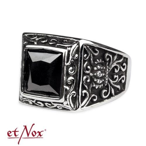 "etNox - Ring ""Royal Beauty"" Edelstahl mit schwarzem Zirkonia"