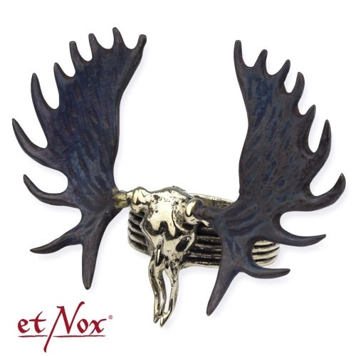 """etNox - Ring """"Moose Skull"""" silberfarben"""