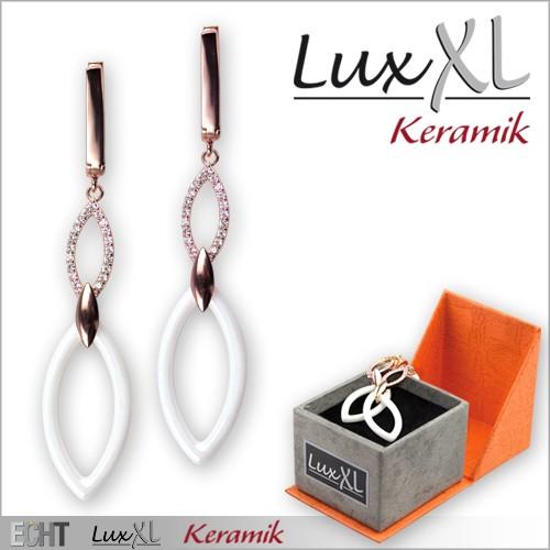 LuxXL-Keramikohrringe weiß mit Zirkonia