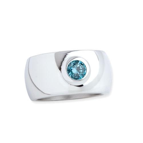 """LuxXL Edelstahlring 12 mm """"Blink"""" poliert mit blauem Zirkonia"""