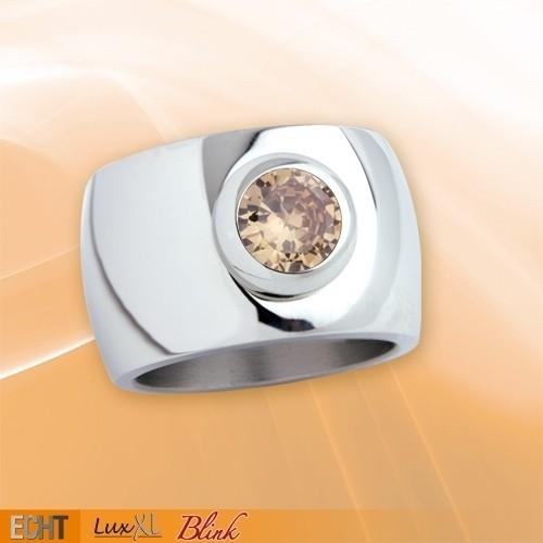 """LuxXL Edelstahlring 15 mm """"Blink"""" poliert mit champagnem Zirkonia"""