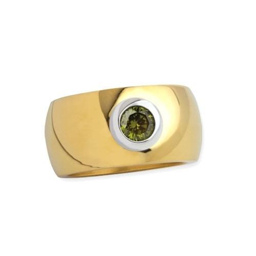 """LuxXL Edelstahlring 12 mm """"Blink"""" poliert mit Beschichtung und grünem Zirkonia"""