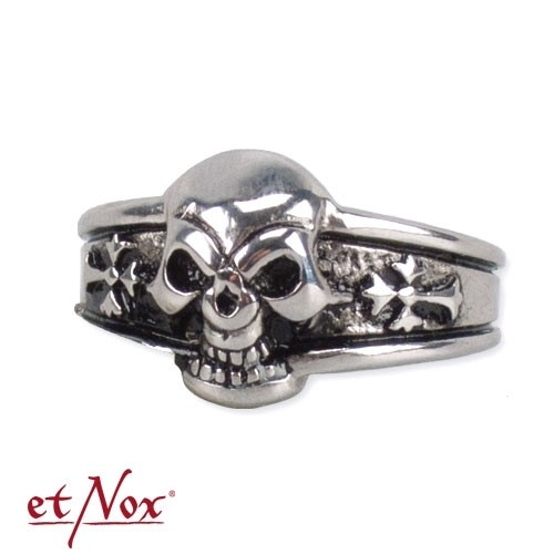 """etNox - Ring """"Dark Skull"""" Edelstahl"""
