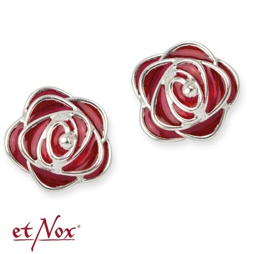 "etNox Ohrstecker ""Red Roses"" 925 Silber + Emaille"