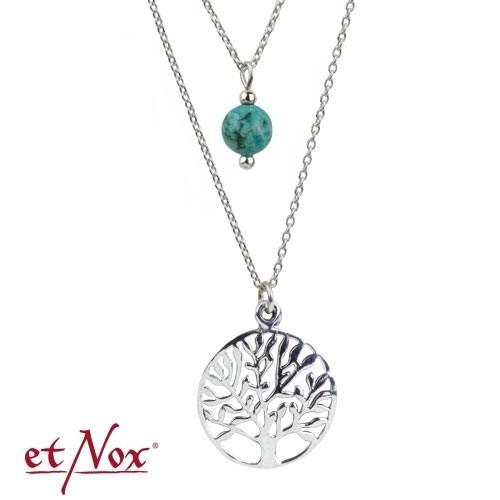 """etNox Silberkette """"Lebensbaum"""" mit Türkis"""