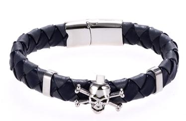 "etNox - Armband ""Braided Pirate Skull"" Edelstahl mit Kunstleder"