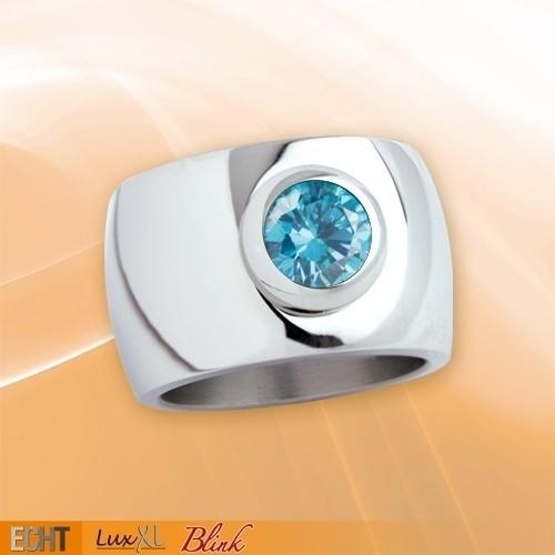"""LuxXL Edelstahlring 15 mm """"Blink"""" poliert mit blauem Zirkonia"""