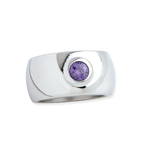 """LuxXL Edelstahlring 12 mm """"Blink"""" poliert mit violettem Zirkonia"""
