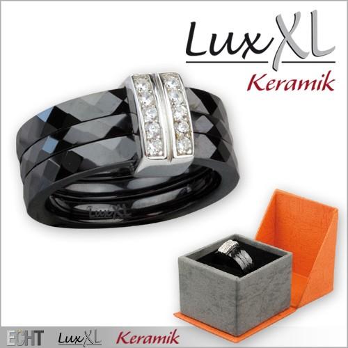 LuxXL-Keramikring schwarz mit Silber und Zirkonia