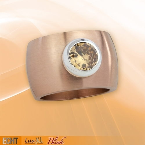 luxxl edelstahlring 15 mm blink rotgold matt mit. Black Bedroom Furniture Sets. Home Design Ideas