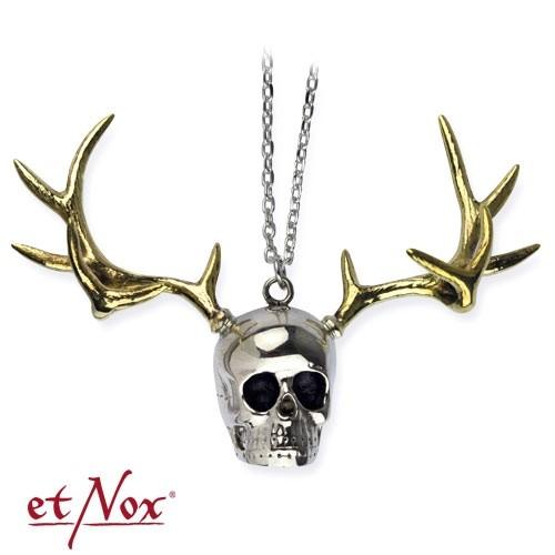 """etNox - Anhänger """"Skull with Deer Head """" silberfarben"""