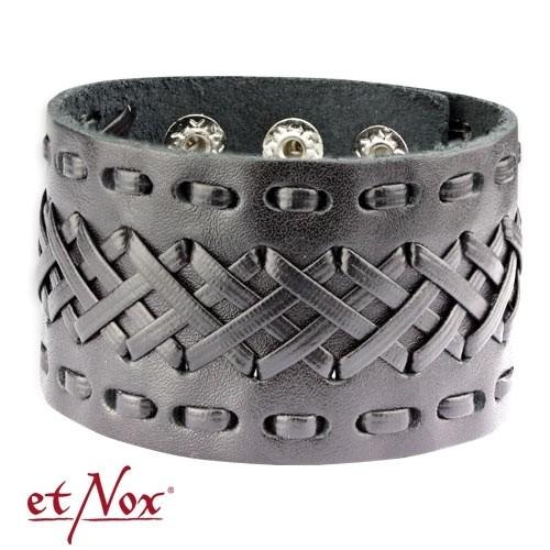 """etNox - Armband """"Flechtwerk"""" Leder und Zink"""