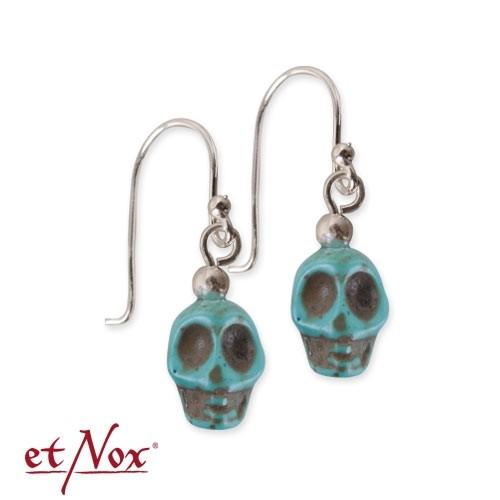 """etNox-Ohrringe """"Skull"""" türkis Polyresin + 925 Silber"""